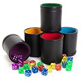 Game Night Pack, Assorted Colors - 5 Professional Shaker Cups with Velvet Felt-Lined Interior, Quality Bicast Leather Exterior & 25 Multicolored Translucent Dice - Red, Yellow, Green, Blue, & Purple