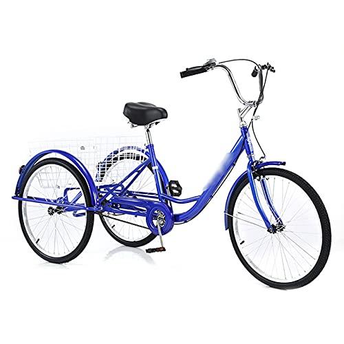 Huachaoxiang Triciclo da 24 Pollici per Adulti, Trike 7 velocità Adulto Gruppo Gruppo Shopping con Cestino 3 Ruote Bicycle Seniors Shopping Tricycle Regalo Meraviglioso,Blu