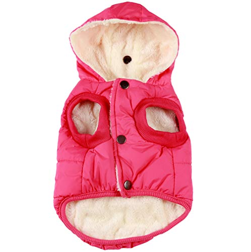 Vecomfy Fleece and Cotton Lining Extra Warm Dog Hoodie in Winter,Small Dog Jacket Puppy Coats with Hooded Pink XS
