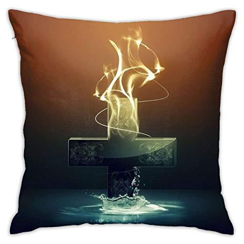 Throw Pillow Cover Cushion Cover Pillow Cases Decorative Linen Cross for Home Bed Decor Pillowcase,45x45CM