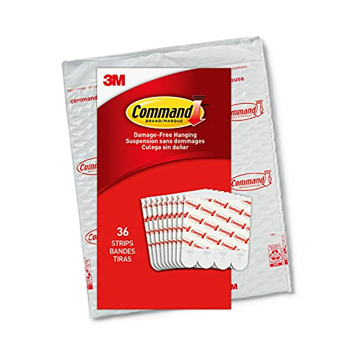 Command Medium Refill Replacement Strips, White, 36-Strips - Easy to Open Packaging