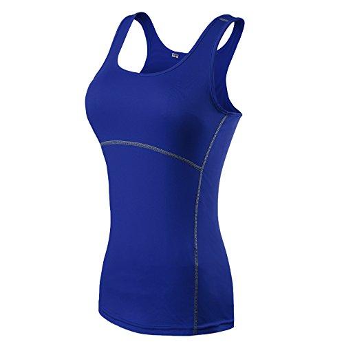 ZKOO Donna Sport Esercizio Formazione Fitness Yoga Quick-Drying Senza Maniche Gilet Maglietta Canotte Vest Blu M