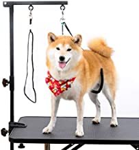 Breeze Touch Dog Grooming Table Arm 35.4'' Height Adjustable with Clamp- Dog Grooming Loop Noose & Two No Sit Haunch Holder Grooming Restraint for Small & Medium Dogs