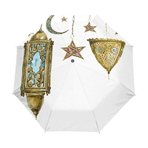 SUHETI Regenschirm Taschenschirm,Laterne Aquarell Mond Sterne drucken,Auf Zu Automatik,windsicher,stabil