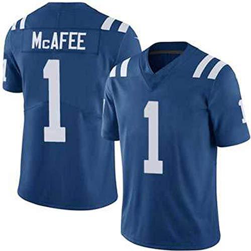 Rugby Jerseys American Football Trikots Colts 1# Mcafee Herren T-Shirts Jugend Kurzarm Freizeit Unterhemd Schnelltrocknend Belüftung Langlebig Fan Geschenk Gr. XXL, blau