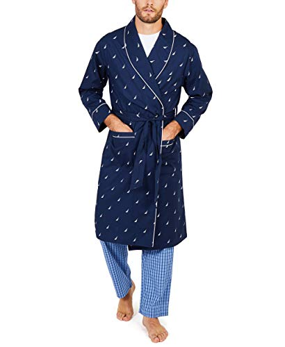 Nautica Men's Long Sleeve Lightweight Cotton Woven Robe,Peacoat,Large/X-Large