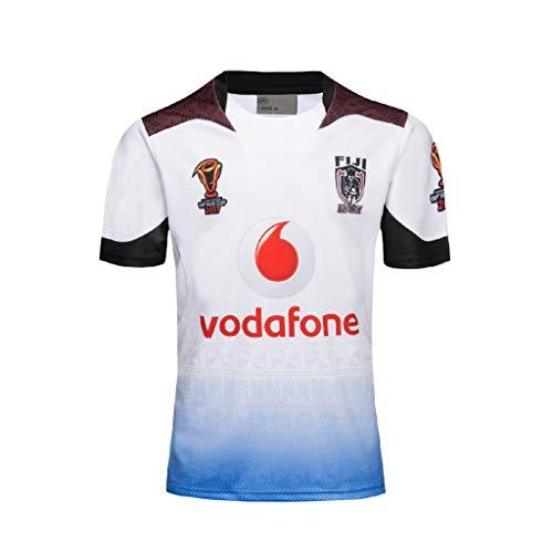 CRBsports Team Fiji, 7s, Rugby-Jersey, Neuer Stoff Bestickt, Swag Sportswear (Weiß, 2XL)