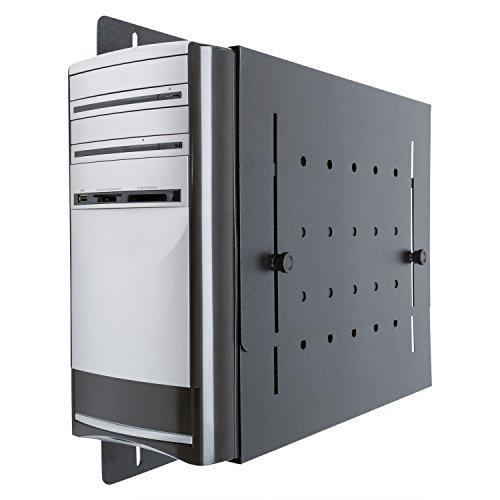 Universal Wall Mount CPU Holder, Mounts Most Desktop PC Sizes (Black)