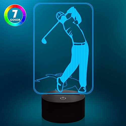 Golf Night Light 3D Lamp 7 Colors Changing Touch Switch LED Illusion Night Light with USB Powered for Golf Club Home Decorations Gifts