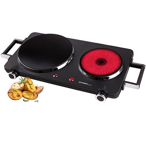 TZS First Austria - Kochplatte Doppel elektrisch mit 22cm und 16cm Kochfeld, jedes Kochgeschirr geeignet, 300°C in 30 Sek, abnehmbare Griffe, infrarot Doppelkochplatte | Metallgehäuse, 2500W schwarz