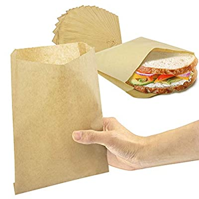 8.5 x 6 Inch Kraft Wax Paper Sandwich Bag - Brown Unbleached Biodegradable Deli Wrap Sheet, Food Grade Grease Resistant for Cookie Bread Candy Snacks Treats, Plastic Alternative Packaging