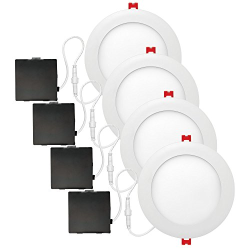 Globe Electric 91261 6' Ultra Slim Designer Series Integrated LED Recessed Lighting Kit, White (Pack of 4)