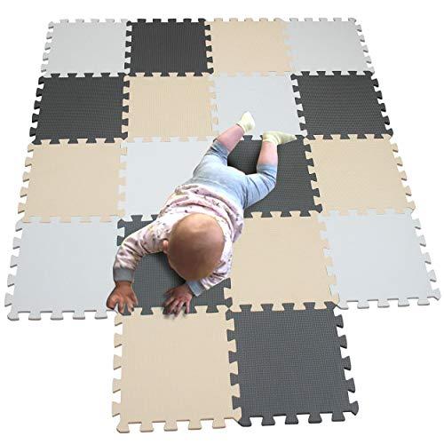 MQIAOHAM 18 pieces krabbeldecke wasserdicht teppich kinder matte für baby puzzle boden matten play gym puzzlematten spielmatten schaum puzzlematte kleinkind schaumstoff Weiß Beige Grau 101110112