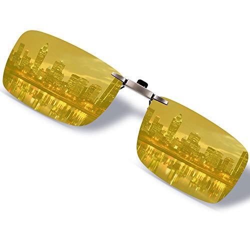 クリップオン サングラス 偏光 めがねの上から 紫外線カット メンズ レディース クリップサングラス 偏光レンズ 黄色 夜間 運転 跳ね上げ uvカット 夜釣り ドライブ スポーツ 旅行 登山 スクエア型サングラス