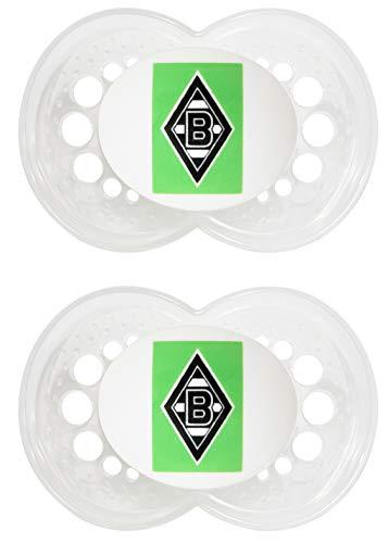 MAM Football Schnuller im 2er-Set, Original Schnuller im Fan Design von Borussia Mönchengladbach, zahnfreundlicher Baby Schnuller aus MAM SkinSoft Silikon, 6-16 Monate