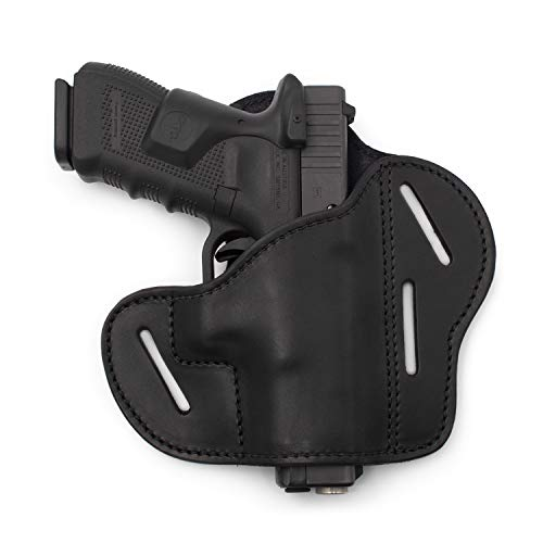 Relentless Tactical The Ultimate 3 Slot OWB Leather Gun Belt Holster - Fits S&W Shield/Glock/Springfield XD - Black Right Handed