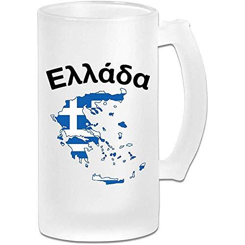 Griekenland Kaart Frosted Glass Stein Bier Mok, Pub Mok, Drank Mok, Gift voor Bier Drinker, 500Ml (16.9Oz)