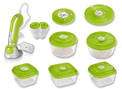 vacSy Vacuum Food Storage Starter Set (9 Teile) zur Vakuumversiegelung und Lebensmittelaufbewahrung - Inklusive Vakuumierpumpe, 5 Glasbehälter, Universaldeckel, 2 Flaschenverschluss