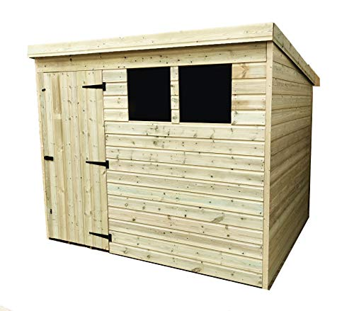 iLikeSheds 7 x 4 Pressure Treated Tongue And Groove Pent Shed With 2 Windows And Single Door