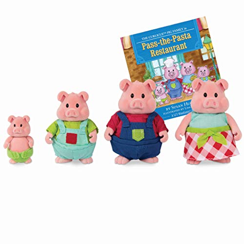 Li'l Woodzeez Pig Family Set – Curlicue Pigs with Storybook – 5pc Toy Set with Miniature Animal Figurines – Family Toys and Books for Kids Age 3+