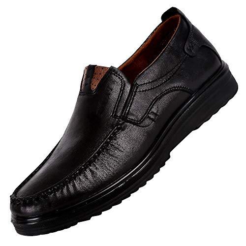 Skxinn Herrenschuh Formal Slipper Schuhe Moderner Mokkasins Schuhe Klassischer Schuhe Lackleder Schuhe Halbschuh Derby Lederschuhe Halbschuh(Schwarz,44 EU)