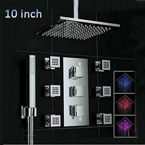BTBHBI Duschsysteme, 1 Satz Deckenmontage 3 Farbwechsel LED Quadrat Regen Duschkopf Thermostatventil Mischbatterie Mit Massagedüsen Dusche Sprayer