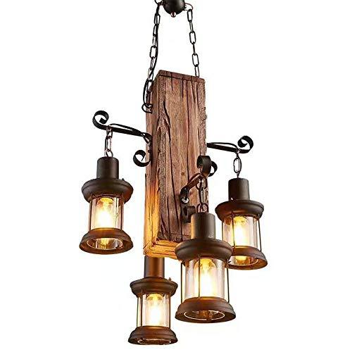 XJAN Lámpara Colgante rústica Lámpara de Techo Vintage Lámparas Retro de 4 Cabezas industriales Lámparas estándar de Madera Base Creativa de Metal de Hierro E27, 220V