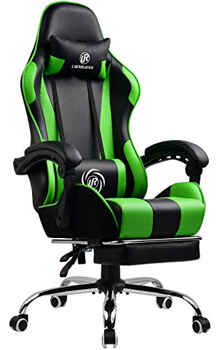 LUCKRACER Gaming Chair Massage with footrest Office Chair with Massage Lumbar Support Swivel Chair with Racing Style Armrest PU Leather High Back (Green)