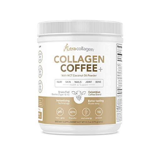 NutraCollagen Collagen Coffee Peptides Powder Instant & Grass-Fed with - Keto Friendly & MCT Coconut Oil Powder, Type I & III, Gluten Free, Sugar Fee, 40mg Caffeine per Serving 25 Servings (Coffee)