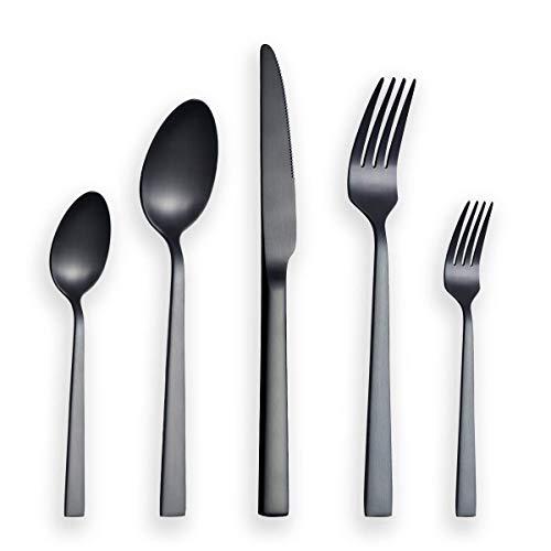 Berglander Set di posate da 30 pezzi con placcatura in titanio nero, set di posate in acciaio inossidabile nero, set di posate nero, servizio per 6 (nero opaco)