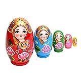 zdz Matryoshka Pintado a Mano, Juego de Juguetes de Madera roja de 4,5 Pulgadas de 5 muñecas de anidación Rusa, para Navidad, Regalos de cumpleaños (Color : Red)
