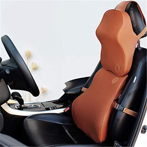 ZYJFP neksteunkussen voor de lumbale wervelkolom, ergonomisch, geheugenkatoen, met neksteun, pijnverlichting, voor autostoel, bureaustoel, geel