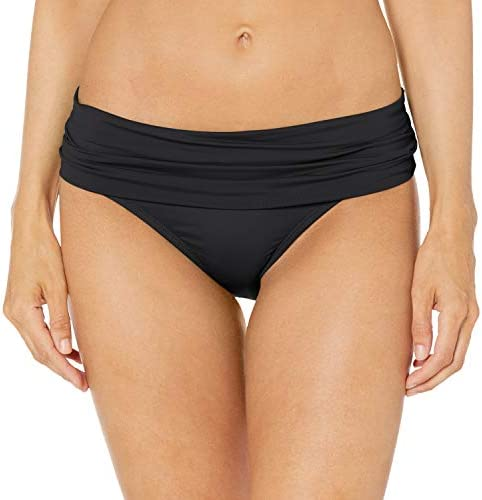 La Blanca Women s Island Goddess Shirred Band Hipster Bikini Swimsuit Bottom Black 8 product image