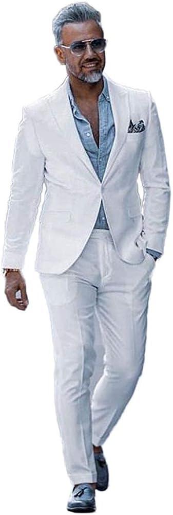 TOPG Men's Wedding Suits Summer Beach Suits 2 Pieces Groom Tuxedos