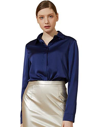 Escalier Women's Satin Silk Long Sleeve Button Down Shirt Casual Work Office Silky Blouse Top Navy S