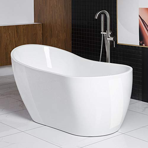 Woodbridge Acrylic Freestanding Bathtub Contemporary Soaking Tub with Brushed Nickel Overflow and Drain, 59