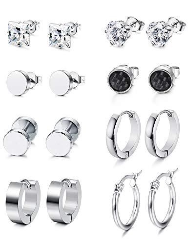 Yadoca 8 Paare Edelstahl Ohrringe für Frauen Männer Hantel Hoop Ohrstecker Tunnel Stecker Ohrloch Piercing