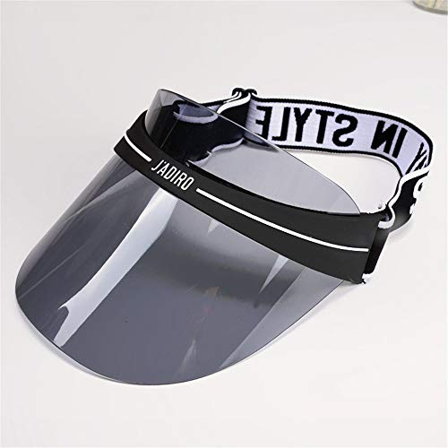 mlpnko Sombrero de Copa vaco Hembra Sombrero de proteccin Solar Transparente Visera UV Sombrero de Sol Gris 56-58cm (Ajustable)