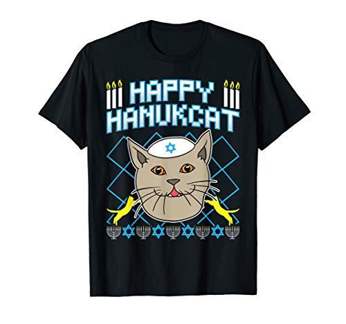 Happy Hanukcat T-Shirt Jewish Cat Ugly Christmas Sweater Tee T-Shirt