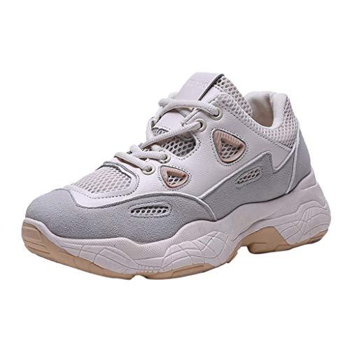 UFODB Laufschuhe Damen Sneaker Sportschuhe Turnschuhe Hallow Atmungsaktiv Erhöhung Plateau Mode Trend Shoes Für Outdoor Running Joggen Fitness Freizeit Schuhe