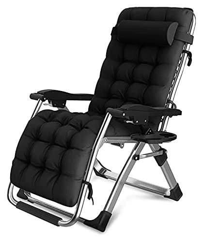 ZOUJIANGTAO Liegestühle Liegestühle für Garten-Terrassen-Stühle liefern Faltstuhl-Camping-Stuhl im Garten im Freien (Color : with Black Cushions, Size : 180x65x77cm)