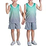 YUUMIN Kinder Junge 2er-Set Basketball Trainings Ärmellos Trikot und Shorts Farbverlauf Sportanzug Trainingsanzug Jogginganzug Team Wettkampfbekleidung Grau 134-140