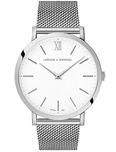 Larsson & Jennings LJXII Lugano Unisex Mens & Womens Watch with 40mm Satin White dial and Silver Stainless Steel Strap LX40-MSV-SW.