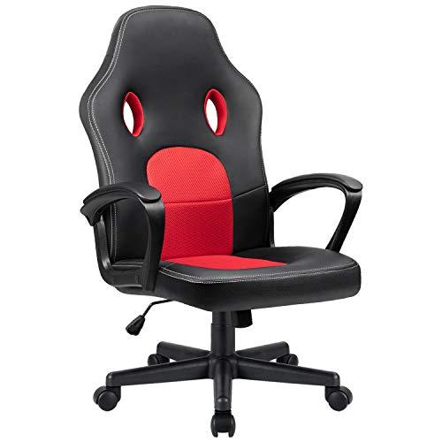Homall Gaming Stuhl Chair Gamer Stuhl Hoch Rücken Ergonomischer Schreibtischstuhl PU Leder Bürostuhl Racing Drehstuhl, Rot