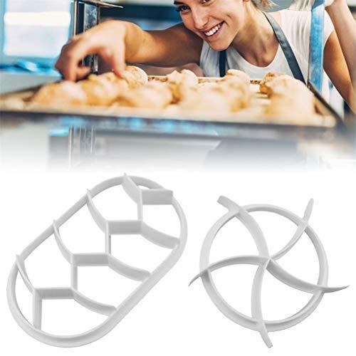 HEITIGN 2PCS Dough Press Mold Set, Baking Bread Rolls Mold Plastic Pastry Cutters, White DIY Bread Press Mold Round Oval Set Baking Supplies