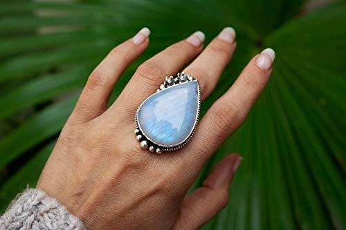 Boho Moonstone Ring Sterling Silver Women Statement Ring Bohemian Gypsy Blue Moonstone Rainbow Moonstone Wide Band Boho Jewelry