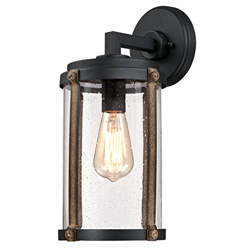 Westinghouse Lighting 6358800 Armin One-Light, Textured Black Finish with Barnwood Accents and Clear Seeded Glass OUTDOOR WALL Fixture,