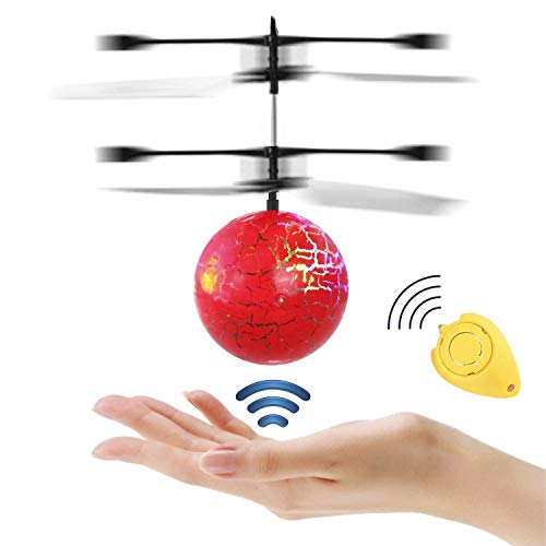 IVYRISE Colorful Flying Ball with Remote Controller for Kids Crystal Flashing LED Light RC Toys Infrared Induction Helicopter Heliball for Indoor and Outdoor Games (Clear)