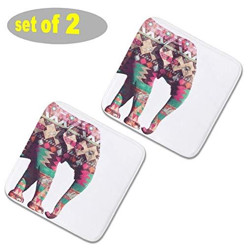 2 almohadillas cuadradas para sillas de cocina de felpa, almohadillas antideslizantes para asientos al aire libre, cojines para sillas, cojines gruesos de asiento 40 x 40 cm, elefante azteca, color rosa, turquesa geométrico