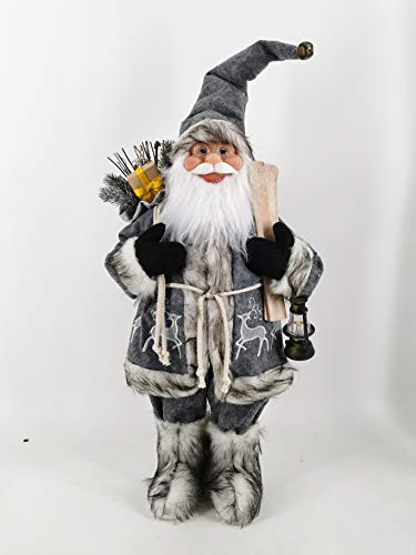 garden mile Traditional Luxury Deluxe Father Christmas Santa Claus Standing Figure Xmas Decoration Ornament Highly Detailed Indoor (70cm, Grey)